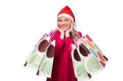 The young woman in christmas shopping concept Royalty Free Stock Photos