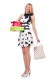 Young woman with christmas shopping Royalty Free Stock Photos