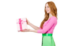 Young woman with christmas shopping Royalty Free Stock Images