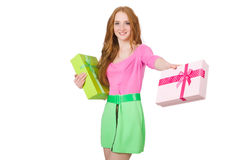 Young woman with christmas shopping Stock Image