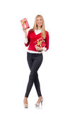 Young woman with christmas shopping Stock Photos