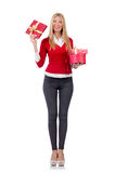 Young woman with christmas shopping Stock Photography
