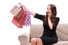The young woman after christmas shopping on white. Young woman after christmas shopping on white Stock Photos