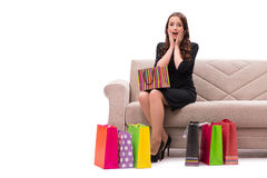 The young woman after christmas shopping on white Royalty Free Stock Photography