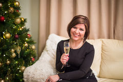 Young woman with christmas tree Stock Images