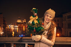 Young woman with Christmas tree standing on a bridge in Venice Stock Photo