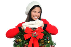 Young Woman with Christmas Wreath Stock Photos