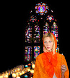 Young woman in  church Royalty Free Stock Photo