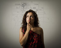 Young woman and city map. Royalty Free Stock Photo