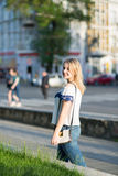 Young woman in the city stock photos