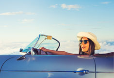 Young Woman in Classic Vintage Sports Car Royalty Free Stock Photos
