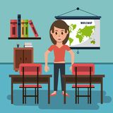 Young woman in classroom. Vector illustration graphic design Stock Photo