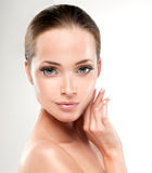 Young Woman with Clean Fresh Skin. Cosmetology. royalty free stock images