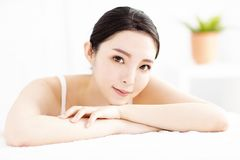 young woman with clean perfect skin stock photography