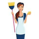 Young woman cleaner. Young beautiful cleaning lady professional standing in apron with broom and dustcloth in hands isolated vector illustration Stock Photos