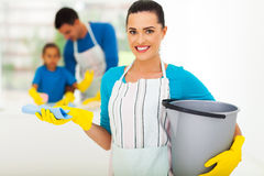 Young woman cleaning Royalty Free Stock Image