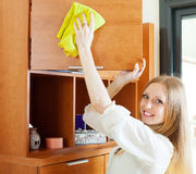 Young woman cleaning furniture Royalty Free Stock Image
