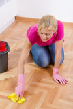 Young Woman Cleaning Home Royalty Free Stock Images