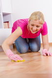 Young Woman Cleaning Home. Young woman cleaning and mopping floor at home Stock Images