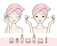 Young Woman Cleaning Makeup On Her Face Stock Photos