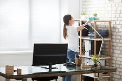 Woman Cleaning The Office. Young Woman Cleaning The Shelves With Rag In Modern Office royalty free stock photo