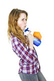Young woman with cleaning supplies Stock Photos