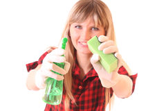 Young woman with cleaning supplies isolated Stock Photo