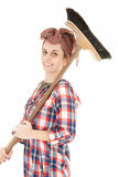 Young woman with cleaning sweep Stock Images