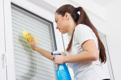 Young Woman Cleaning Windows Glass Royalty Free Stock Photography
