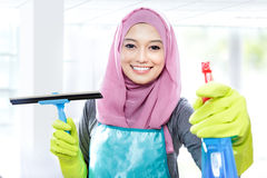 Young woman cleaning windows with squeegee and cleaning spray Stock Photography