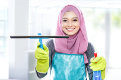 Young woman cleaning windows with squeegee and cleaning spray Stock Images