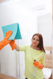 The young woman cleans a bathroom. Stock Photos