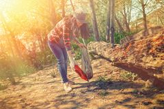 A young woman cleans the Park on Saturday. Preservation of forest ecology. Tint.  stock images