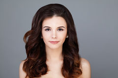 Young Woman with Clear Skin and Healthy Hair Stock Photos