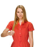 Young woman clenched fist arm Royalty Free Stock Photography