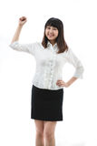 Young woman Clenching Fist. Asian business woman - young woman Clenching Fist Stock Photos