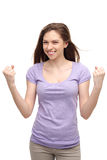 Young woman clenching fists Royalty Free Stock Photo