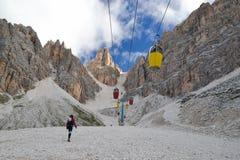 Young woman hiking to Ivano Dibona stock photo
