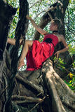 Young woman climbing big exotic tree Royalty Free Stock Photo