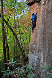 Young woman climbing. Rock climber ascending a sport route in Red River Gorge, Kentucky, on some wonderful sandstone Royalty Free Stock Photos