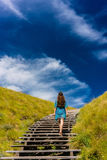 Young woman climbing stairs outdoors in an idyllic travel destin. Full length rear view of a young woman wearing a blue dress while climbing wooden stairs Royalty Free Stock Images
