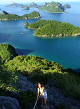 Young woman climbing to the view point, Ang Thong National Marin Royalty Free Stock Photos
