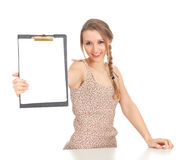 Young woman with clipboard Royalty Free Stock Photos