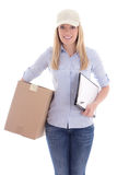 Young woman with clipboard delivering package isolated on white Royalty Free Stock Photos