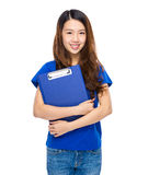 Young woman with clipboard Stock Photos