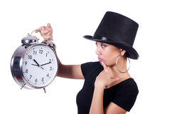 Young woman with clock Stock Photography