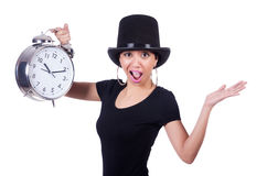 Young woman with clock Royalty Free Stock Image