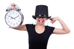 Young woman with clock Royalty Free Stock Photography