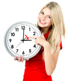 Young woman with a clock. Time management concept. Summer time (Daylight Saving Time Royalty Free Stock Images