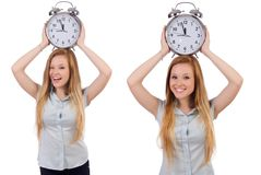 The young woman with clock on white stock photo